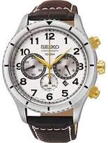 Seiko SRW039P1's Watch Quartz Chronograph Watch-Grey Face-Brown Leather Strap