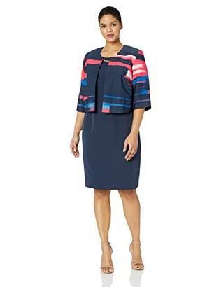 Maya Brooke Women's Abstract Stripe Jacket with Dress