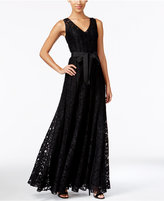 Calvin Klein V-Neck Belted Lace Gown