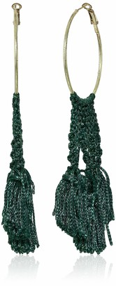 Panacea Women's Green Woven Hoop Drop Earrings One Size