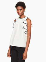 Kate Spade Sleeveless ruffle silk top