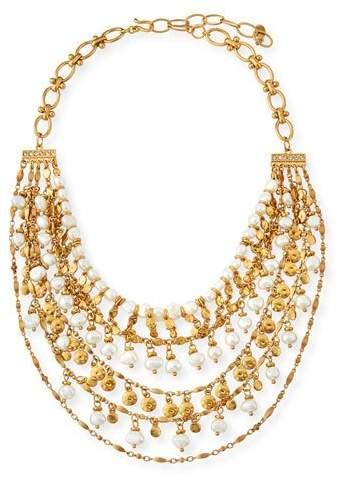 Sequin Swarovski Crystal Pearl-Bead Tiered Necklace