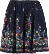 Sea Pintucked floral-print cotton and silk-blend georgette mini skirt