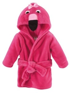Hudson Baby Plush Bathrobe, Flamingo, 0-9 Months