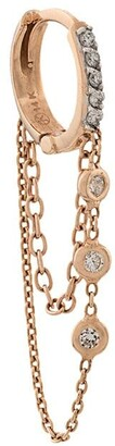 Kismet by Milka 14kt rose gold 3 Diamond Solitaire Chainy hoop earrings