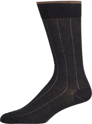 Marcoliani Milano Men's Pima Cotton Pinstripe Socks