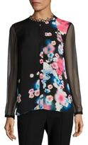 Elie Tahari Raegan Silk Floral-Print Blouse