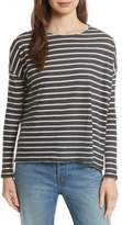 Majestic Filatures Stripe Cotton & Cashmere Boatneck Top