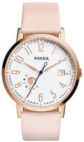 Fossil Vintage Rose Goldtone Stainless Steel and Pink Leather Strap Watch, ES3991