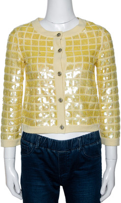 Chanel Yellow Sequined Cashmere Button Front Cardigan S
