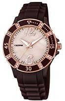 Calypso Women's Quartz Watch with Beige Dial Analogue Display and Brown Plastic Strap K5650/A