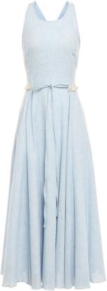 Gül Hürgel Fringe-trimmed Gingham Cotton And Linen-blend Midi Dress
