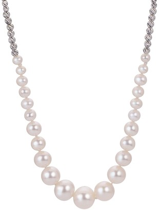 PearLustre by Imperial Sterling Silver Graduated Freshwater Cultured Pearl & Brilliance Bead Necklace