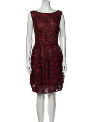 Oscar de la Renta 2014 Knee-Length Dress Red