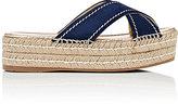Prada Women's Crisscross-Strap Platform Espadrille Sandals-NAVY