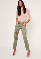 Missguided Khaki Multi Rip Mom Jeans