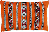 One Kings Lane Vintage Orange Berber Pillow w/ Diamond Stripes
