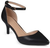 Women's Journee Collection Pointed Toe Matte Ankle Strap Kitten Heel Pumps
