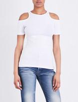 Frame Variegated cold-shoulder knitted T-shirt