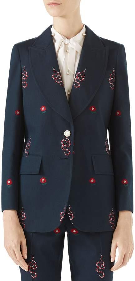 Gucci Snake Embroidered Cotton Blazer