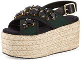 Marni 60mm Jeweled Espadrille Flatform Sandal, Spherical Green