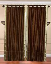 Indian Selections Lined Brown - Grommet Top Sheer Sari Curtains - 43W x 96L - Pair