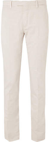 Boglioli Beige Stretch Cotton And Linen-Blend Suit Trousers