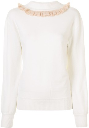 See by Chloe Ruffle Trim Round Neck Jumper
