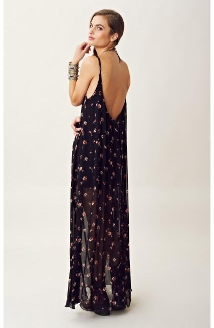 Blu Moon FLORAL PRINT U BACK MAXI DRESS