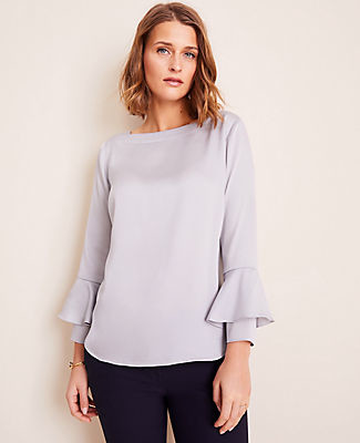 Ann Taylor Petite Flounce Cuff Boatneck Blouse