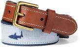 Ralph Lauren Shark-Overlay Webbed Belt