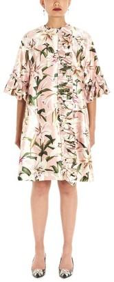 Dolce & Gabbana Floral Print Ruffle Trimmed Coat