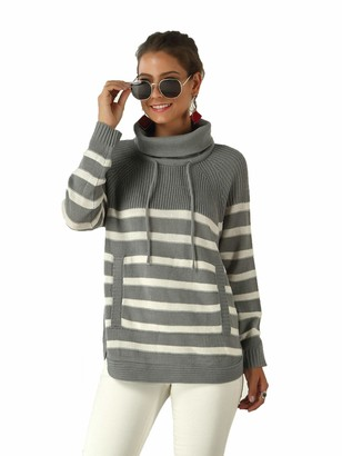 Tsorto Women High Neck Pullover Drawstring Sweater with Pocket Color Block Knitwear Long Sleeve Top for Autumn Winter Gray-XL
