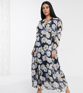 Lost Ink Plus maxi wrap dress in oversized floral print