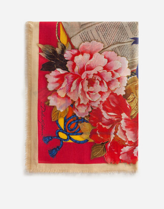 Dolce & Gabbana Scarf In Modal And Cashmere With Silk Road Print: 140 X 140cm- 55 X 55 Inches