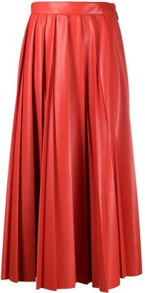 MSGM Faux-Leather Pleated Skirt