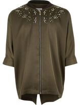 River Island Girls khaki green stud zip shirt