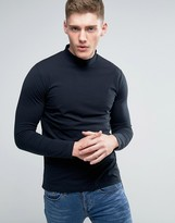 Lindbergh Long Sleeve Top With Turtleneck In Navy