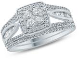 Zales 3/4 CT. T.W. Composite Diamond Cushion Frame Split Shank Bridal Set in 10K White Gold