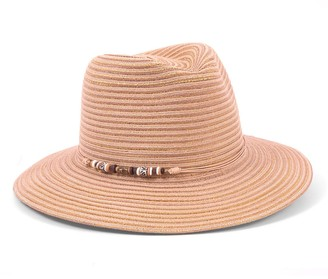 Physician Endorsed Women's Phoenix Beaded Trim Fedora Sunhat Packable and Adjustable