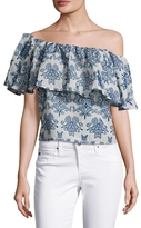 Nicholas Embroidered Asymmetrical Off Shoulder Top
