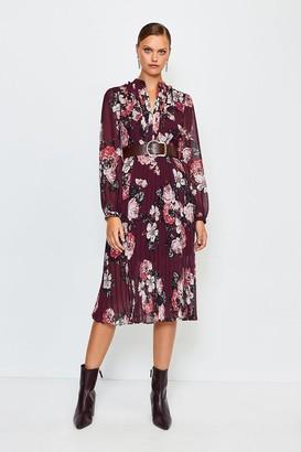 Karen Millen Rose Print Pintuck Midi Dress