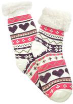 Angelina Ivory Heart Fleece-Lined Slipper Socks