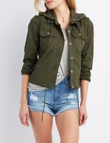Charlotte Russe Hooded Cropped Anorak Jacket