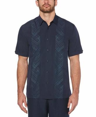 Cubavera Big & Tall Geometric Panel Embroidery Shirt