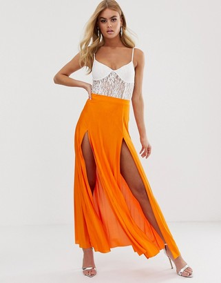 Asos Design DESIGN pleated maxi skirt with double split