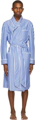 Paul Stuart Blue and White Awning Stripe Robe
