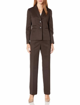 Le Suit LeSuit Women's 2 Button Notch Collar Tonal Striped Pant Suit