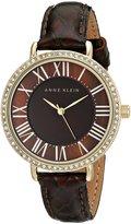 Anne Klein Women's AK/1824BMBN Swarovski Crystal-Accented Gold-Tone Watch with Brown Leather Strap