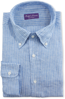 Ralph Lauren Purple Label Men's Striped Linen Dress Shirt